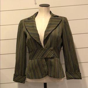 E by eci blazer green blue brown stripe texture